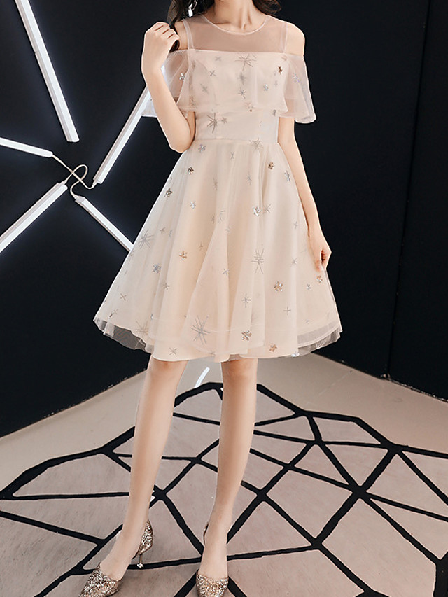 A-Line Glittering Beautiful Back Wedding Guest Prom Dress Illusion Neck Short Sleeve Short / Mini Tulle with Ruffles Embroidery 2021