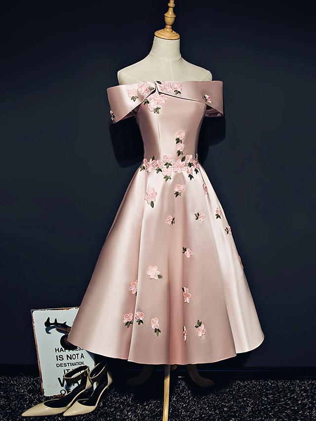 A-Line Off Shoulder Ankle Length Satin Bridesmaid Dress with Appliques