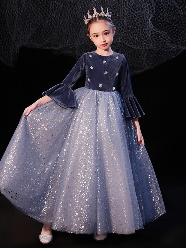 Princess Floor Length Event / Party / Formal Evening Flower Girl Dresses - Tulle / Velvet 3/4 Length Sleeve Jewel Neck with Pleats / Beading / Splicing