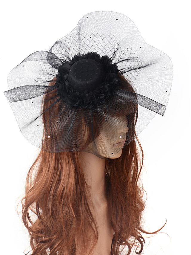 Elegant & Luxurious Hyperbole Tulle Fascinators with Hollow-out / Polka Dot 1 Piece Special Occasion / Party / Evening Headpiece