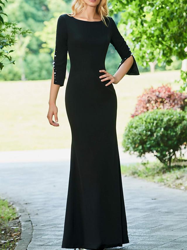 Sheath / Column Mother of the Bride Dress Elegant Jewel Neck Floor Length Stretch Fabric Half Sleeve with Beading 2021