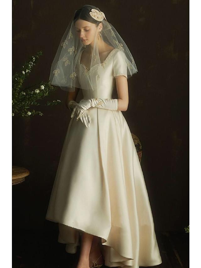 A-Line Wedding Dresses Scoop Neck Asymmetrical Satin Short Sleeve Simple Vintage Little White Dress 1950s Elegant with 2021