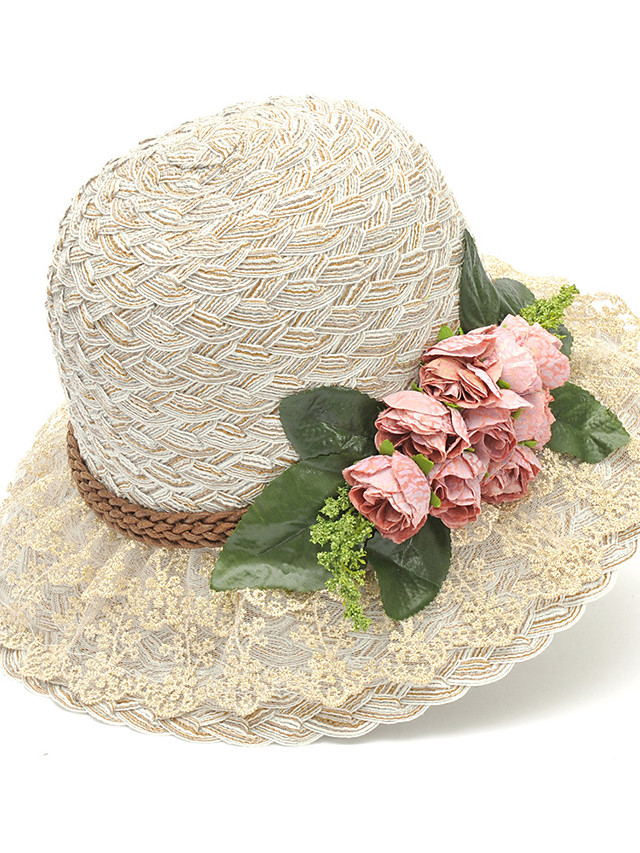 Flower Cute Straw Hats with Bow(s) 1 Piece Special Occasion / Holiday Headpiece