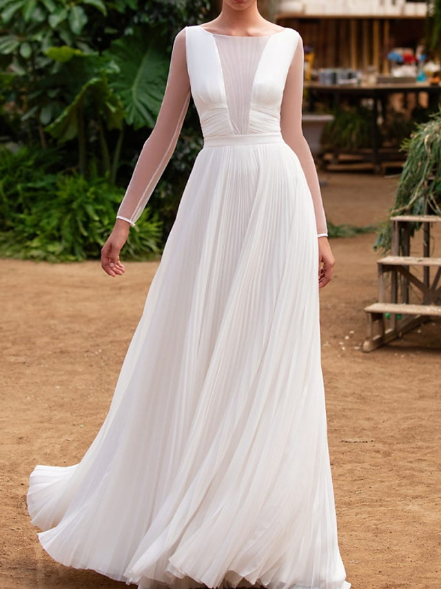 A-Line Wedding Dresses Jewel Neck Floor Length Tulle Charmeuse Long Sleeve Country Simple with Pleats 2021