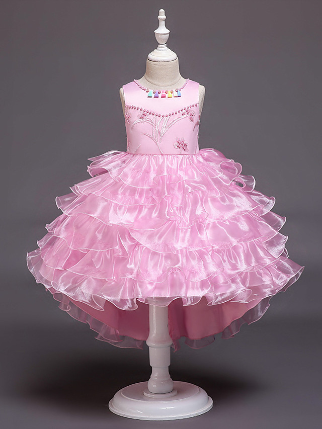 Princess / Ball Gown Asymmetrical Wedding / Party Flower Girl Dresses - Satin / Tulle Sleeveless Jewel Neck with Appliques