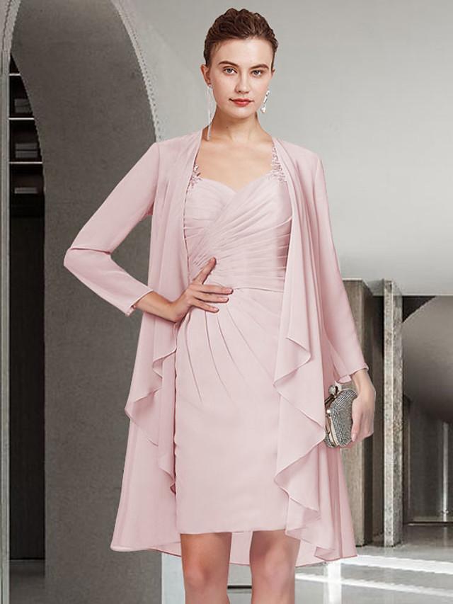 Two Piece Sheath / Column Mother of the Bride Dress Elegant Jewel Neck Short / Mini Chiffon Long Sleeve with Lace Ruching 2021