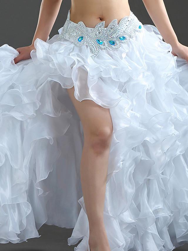 Belly Dance Activewear Skirts Crystal / Rhinestone Solid Women's Training Performance Sleeveless Natural Nylon