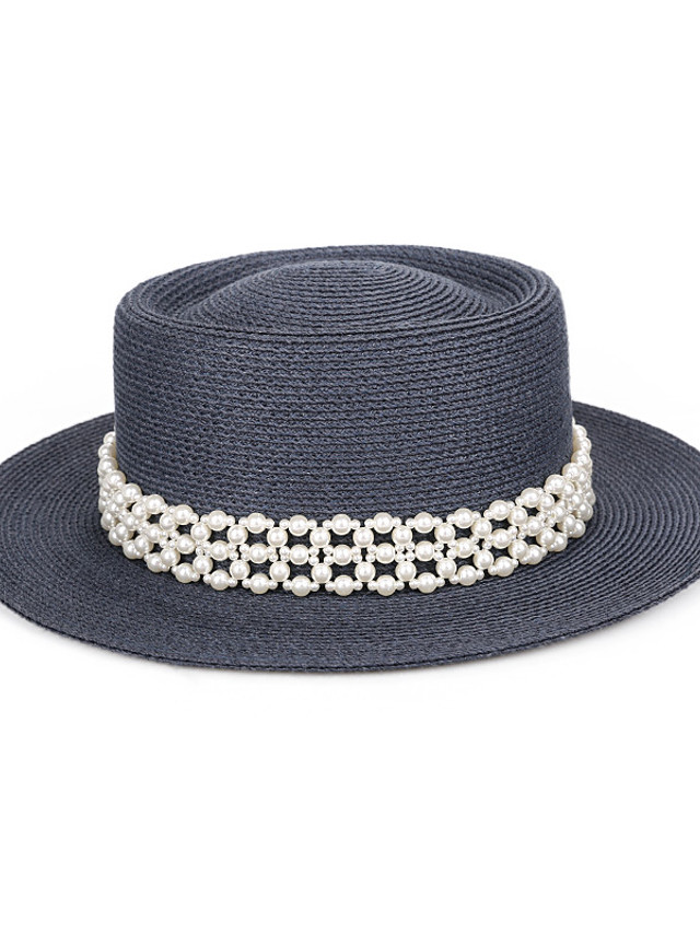 Lady Pearl Straw Hats with Pearls / Solid 1 Piece Casual / Holiday Headpiece