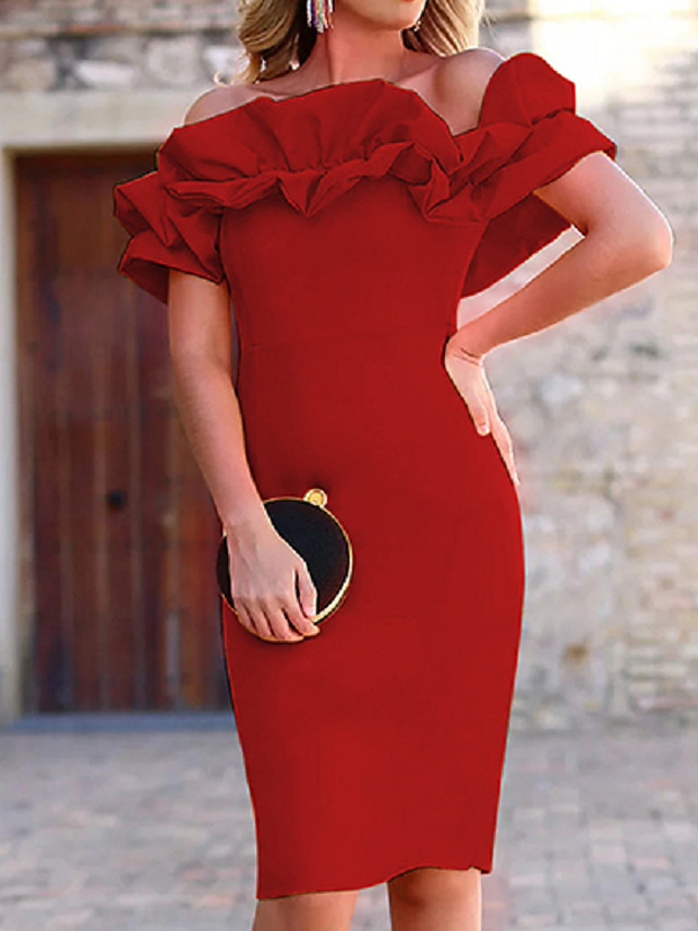 Sheath / Column Minimalist Elegant Engagement Cocktail Party Dress Off Shoulder Short Sleeve Knee Length Stretch Fabric with Ruffles 2021