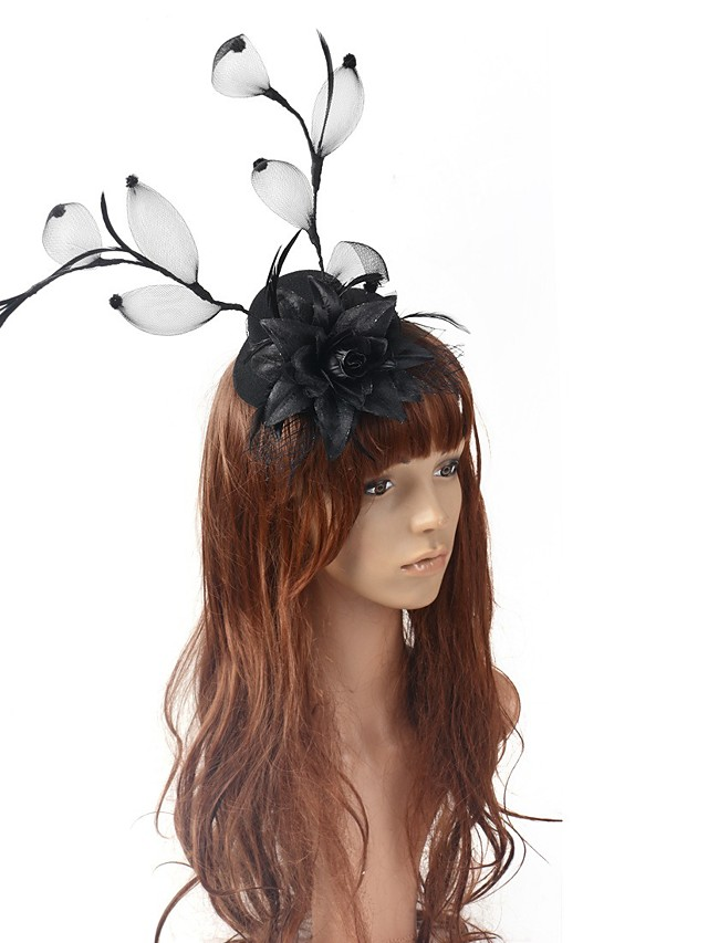Retro Hyperbole Tulle Fascinators with Floral / Solid 1 Piece Special Occasion / Party / Evening Headpiece