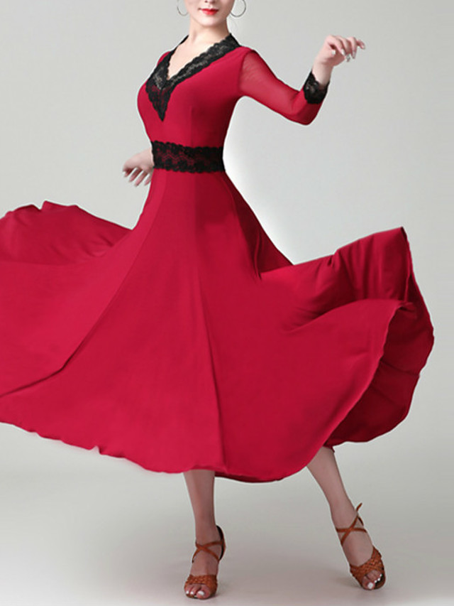 Ballroom Dance Dress Lace Pleats Women's Training Performance 3/4 Length Sleeve Natural Chinlon