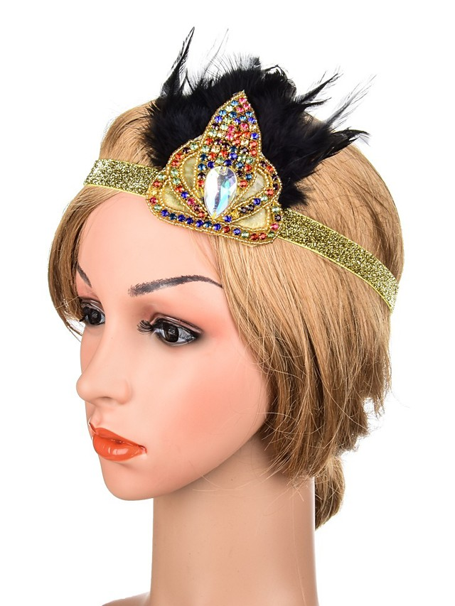 Sparkle & Shine Sweet Cubic Zirconia Fascinators with Feather / Crystals 1 Piece Special Occasion / Party / Evening Headpiece