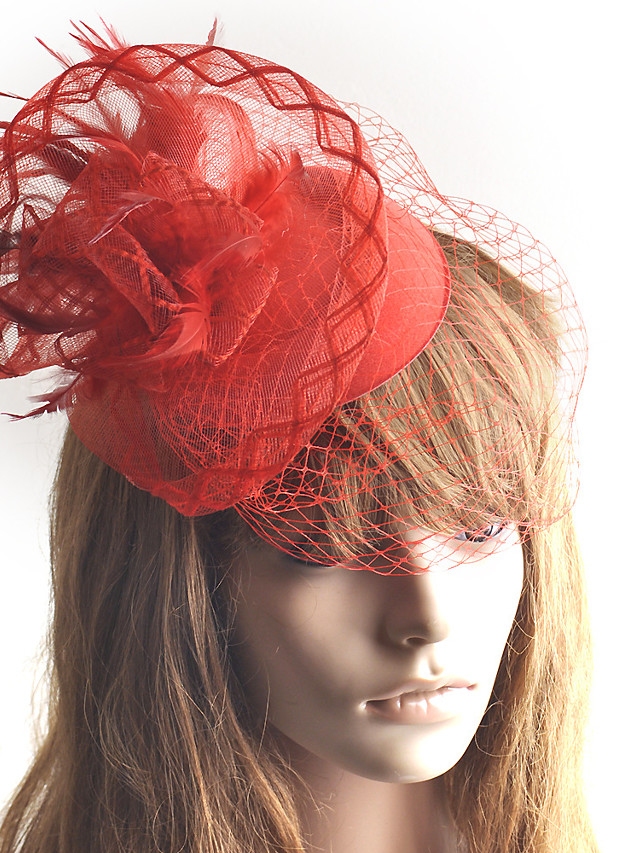 Retro Tulle Fascinators with Feather / Flower 1 Piece Wedding / Party / Evening Headpiece
