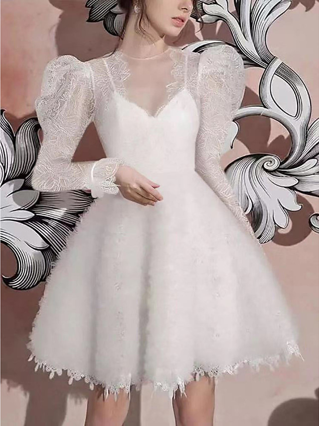A-Line Elegant Vintage Homecoming Cocktail Party Dress Illusion Neck Long Sleeve Short / Mini Lace with Pleats Embroidery 2021