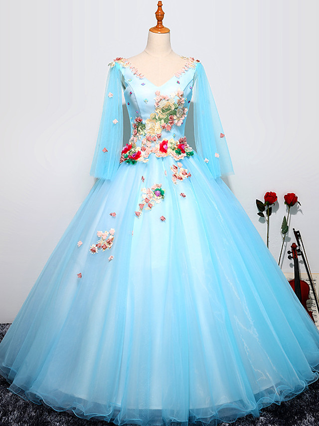 Ball Gown Luxurious Floral Quinceanera Prom Dress V Neck Long Sleeve Floor Length Tulle with Pleats Embroidery 2021