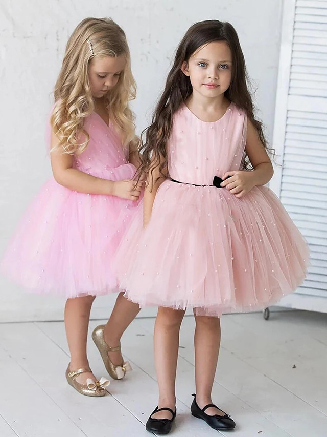 Princess / A-Line Knee Length Wedding / Party Flower Girl Dresses - Tulle Sleeveless Jewel Neck with Pleats