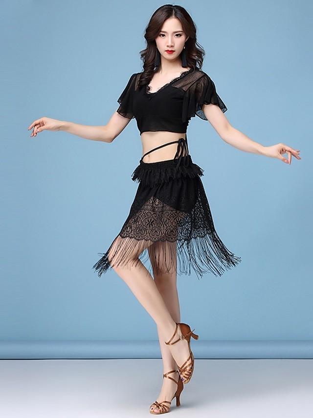 Latin Dance Dance Costumes Skirts Lace Women's Training Performance Short Sleeve High Elastane Lace