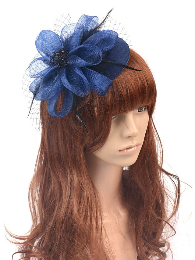 Classic Retro Tulle Fascinators with Feather / Floral 1 Piece Special Occasion / Party / Evening Headpiece