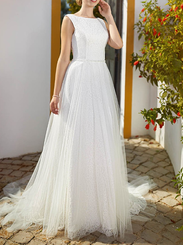 A-Line Wedding Dresses Jewel Neck Floor Length Lace Tulle Sleeveless Country Romantic with 2021