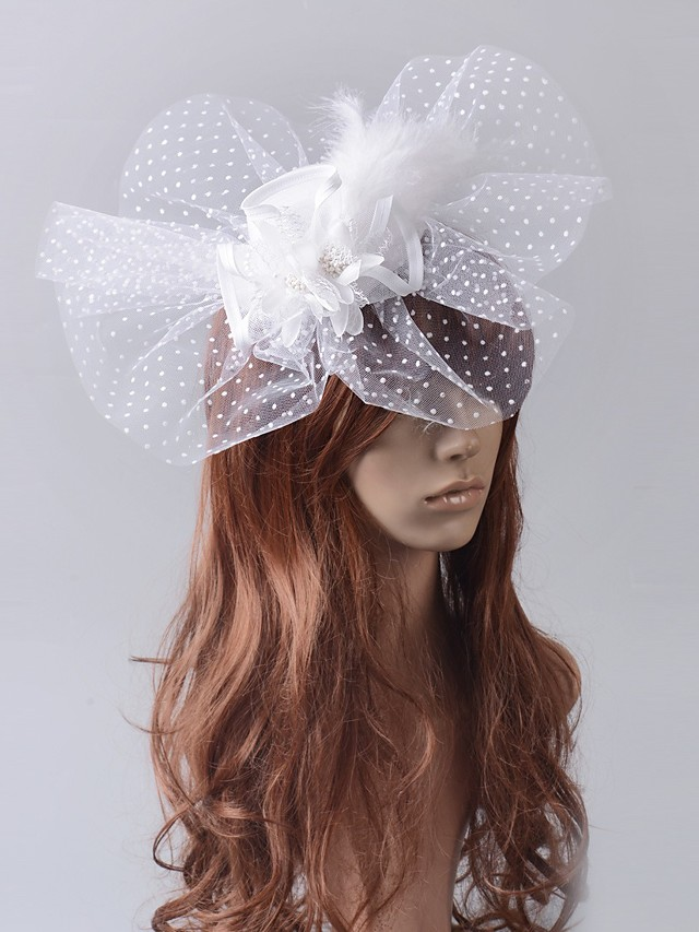 1920s Retro Tulle / Feather Fascinators with Feather / Polka Dot 1 Piece Wedding / Special Occasion Headpiece