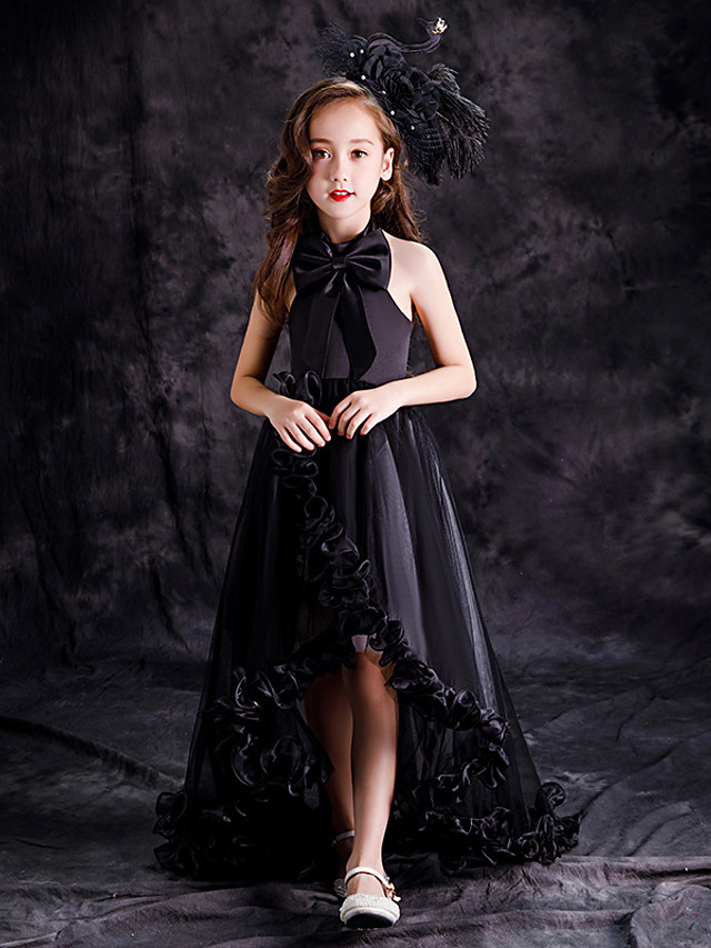 Princess / A-Line Sweep / Brush Train / Asymmetrical Party / Pageant Flower Girl Dresses - Satin Sleeveless Halter Neck with Bow(s) / Pleats