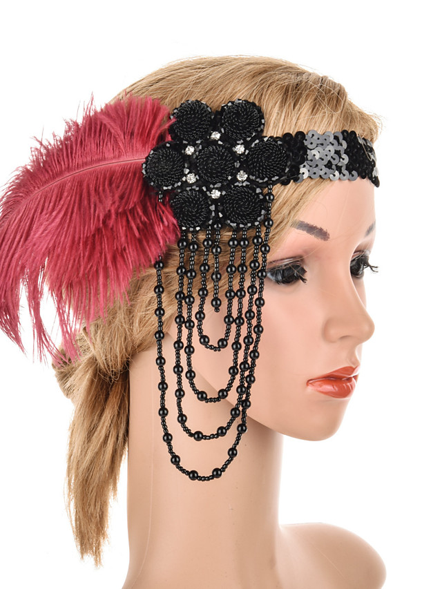 Elegant Retro Feathers Headpiece with Feather / Crystals 1 Piece Special Occasion / Party / Evening Headpiece