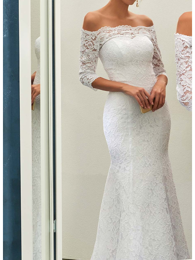Mermaid / Trumpet Wedding Dresses Off Shoulder Sweep / Brush Train Lace Long Sleeve Romantic with Appliques 2021