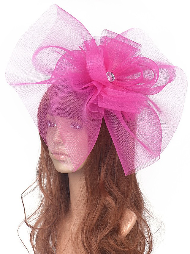 Flower Style Retro Tulle Fascinators with Floral / Crystals 1 Piece Special Occasion / Party / Evening Headpiece