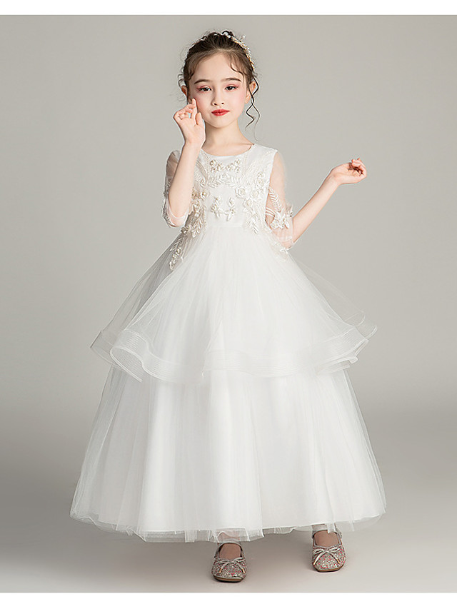 Princess / Ball Gown Jewel Neck Ankle Length Tulle Junior Bridesmaid Dress with Sash / Ribbon / Bow(s) / Pearls