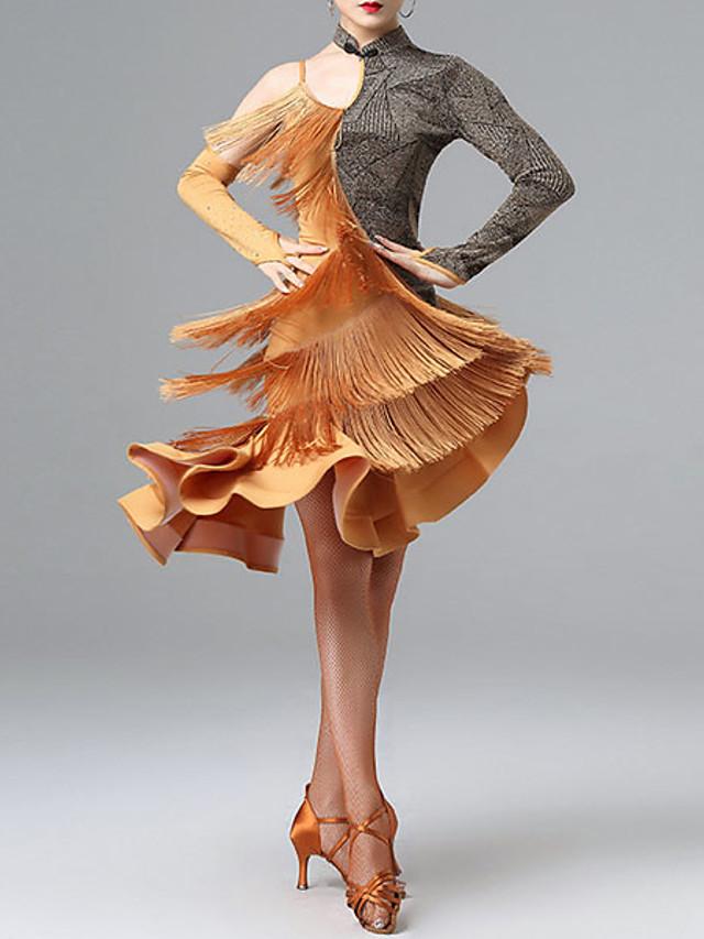 Latin Dance Leotard / Onesie Ruffles Tassel Women's Training Performance Long Sleeve Milk Fiber