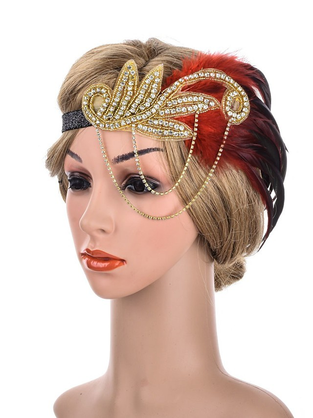 1920s Retro Fabric Fascinators with Feather / Crystals / Sequin 1 Piece Special Occasion / Party / Evening Headpiece