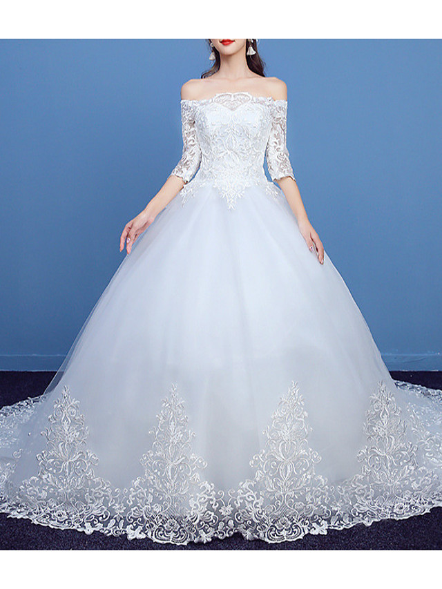 Princess Ball Gown Wedding Dresses Off Shoulder Court Train Lace Tulle Half Sleeve Formal Romantic with Appliques 2021