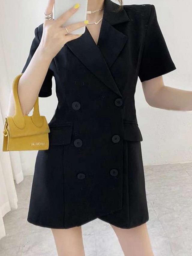 A-Line Little Black Dress Minimalist Homecoming Cocktail Party Dress Notch lapel collar Short Sleeve Short / Mini Stretch Fabric with Buttons 2021