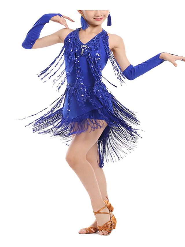 Latin Dance Dance Costumes Exotic Dancewear Dress Tassel Paillette Women's Girls' Performance Theme Party Elastane