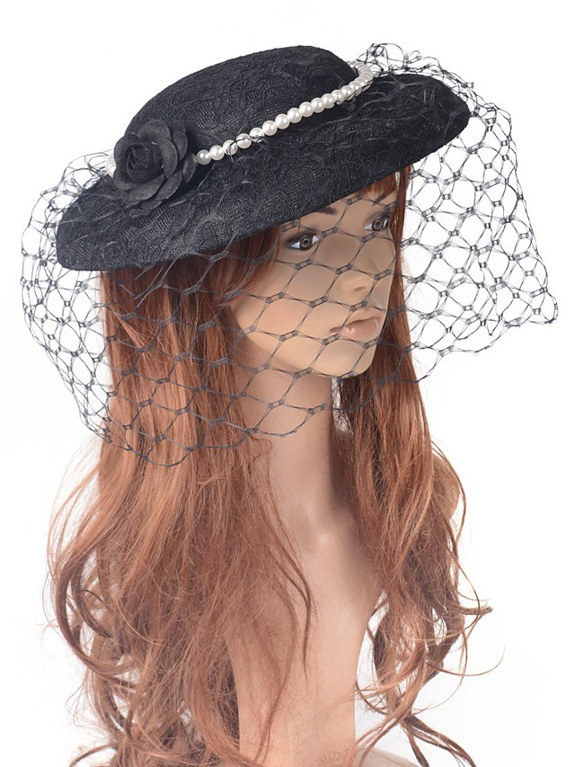 Retro Pearl Tulle Fascinators with Floral / Pearls 1 Piece Special Occasion / Party / Evening Headpiece