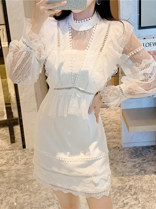 A-Line Elegant Vintage Homecoming Cocktail Party Dress High Neck Long Sleeve Short / Mini Lace with Tier Lace Insert 2021