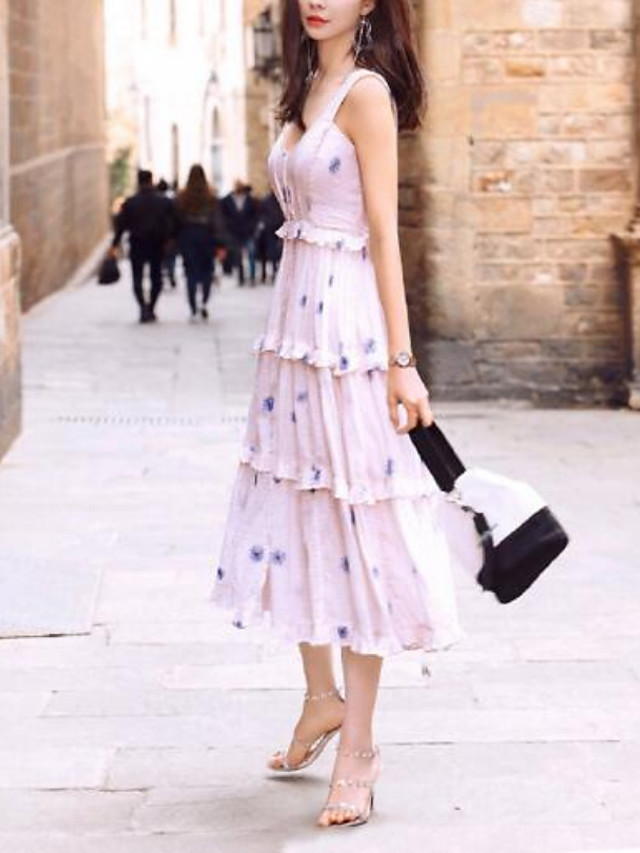 A-Line Bohemian Floral Holiday Cocktail Party Dress V Neck Sleeveless Tea Length Chiffon with Pleats Pattern / Print 2021