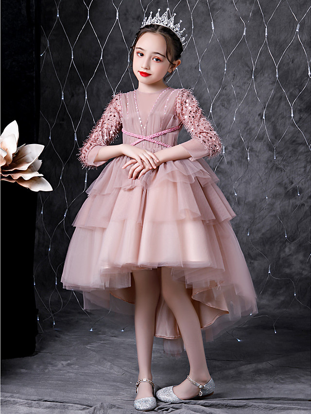Princess Asymmetrical Wedding / Event / Party Flower Girl Dresses - Tulle 3/4 Length Sleeve Jewel Neck with Tier / Solid / Paillette