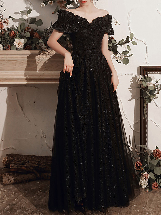 A-Line Off Shoulder Floor Length Tulle Bridesmaid Dress with Crystals / Bandage