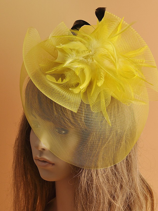 Classic Retro Tulle Fascinators with Feather / Solid 1 Piece Special Occasion / Party / Evening Headpiece