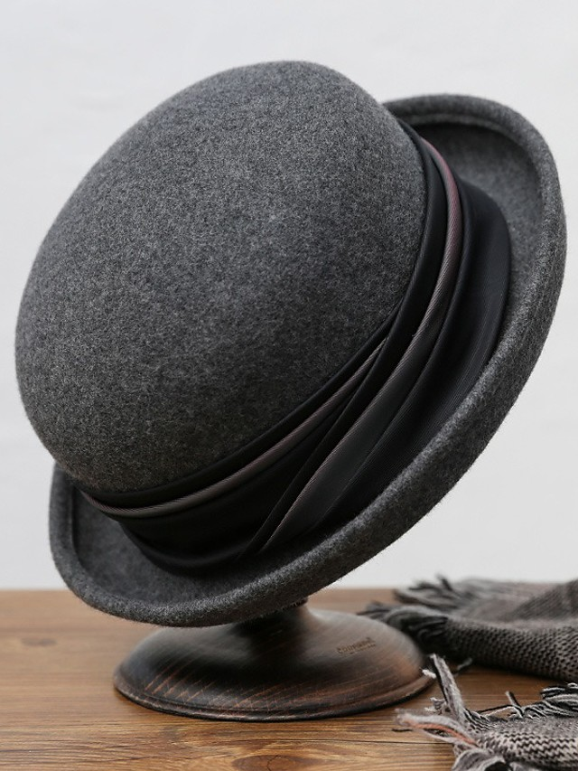 Simple Classic Style Wool Hats with Ribbon Tie 1 Piece Special Occasion / Party / Evening Headpiece