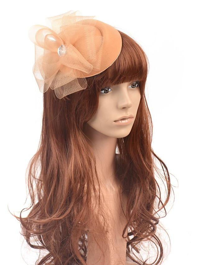 Classic Retro Tulle Fascinators with Floral / Crystals 1 Piece Special Occasion / Party / Evening Headpiece