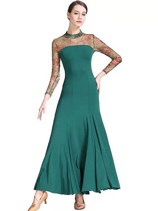 رقص الصالة فستان طيات نموذج / طباعة نسائي التدريب أداء كم طويل ارتفاع متوسط نايلون