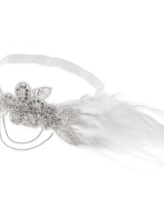 Crystal Glam Crystal Headpiece with Feather / Chain 1 Piece Special Occasion / Party / Evening Headpiece