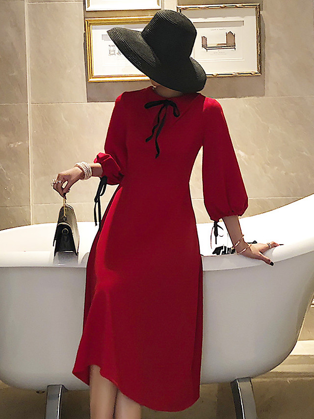 A-Line Elegant Vintage Homecoming Cocktail Party Dress Shirt Collar 3/4 Length Sleeve Knee Length Stretch Fabric with Bow(s) 2021
