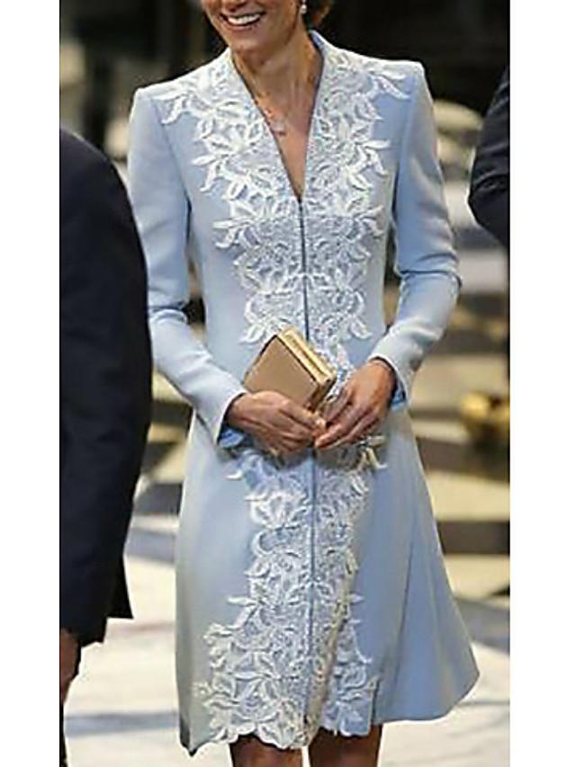 A-라인 신부 어머니 드레스 플러스 사이즈 V 넥 숏 / 미니 폴리에스테르 긴 소매 와 아플리케 2021