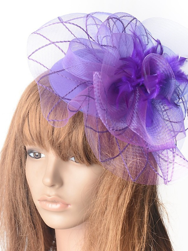 Hyperbole Vintage Inspired Tulle Fascinators with Feather / Floral 1 Piece Special Occasion / Party / Evening Headpiece