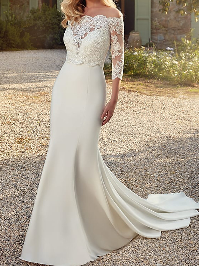 Mermaid / Trumpet Wedding Dresses V Neck Sweep / Brush Train Lace Satin Sleeveless Romantic Simple with Appliques 2021