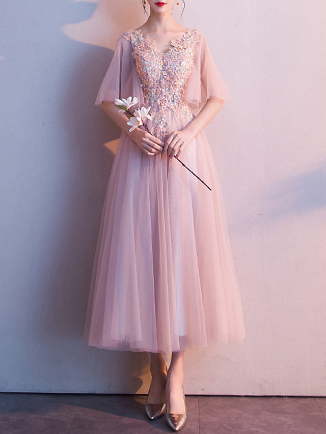 A-Line Elegant Floral Cocktail Party Prom Dress V Neck Half Sleeve Ankle Length Tulle with Appliques 2021