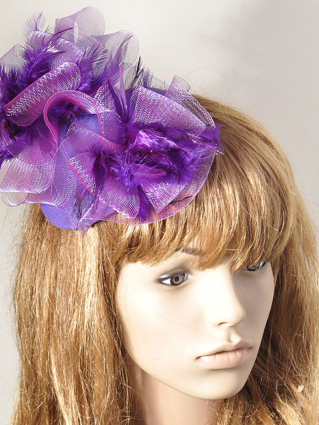 Elegant Retro Tulle Fascinators with Feather / Flower 1 Piece Special Occasion / Party / Evening Headpiece